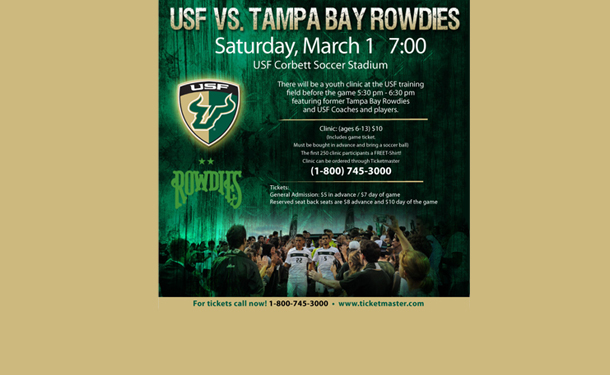 USF Men's Soccer plays Tampa Bay Rowdies