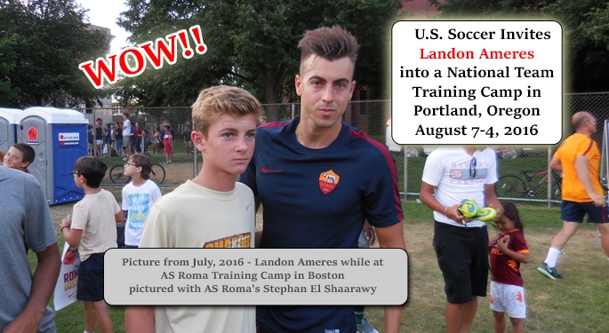 Landon Ameres Invited Into US Soccer Nat'l Team Training Camp